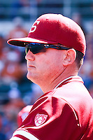 AUSTIN, TEXAS-March 6, 2011:  Coach Rusty Filter of Stanford evaluates defensive positioning during the game against the Texas Longhorns, at Disch-Falk field in Austin, Texas.  Texas defeated Stanford 4-2.