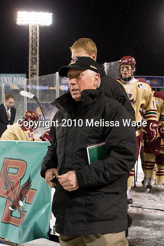 Jerry York (BC - Head Coach) - The Boston University Terriers defeated the Boston College Eagles 3-2 on Friday, January 8, 2010, at Fenway Park in Boston, Massachusetts, as part of the Sun Life Frozen Fenway doubleheader.