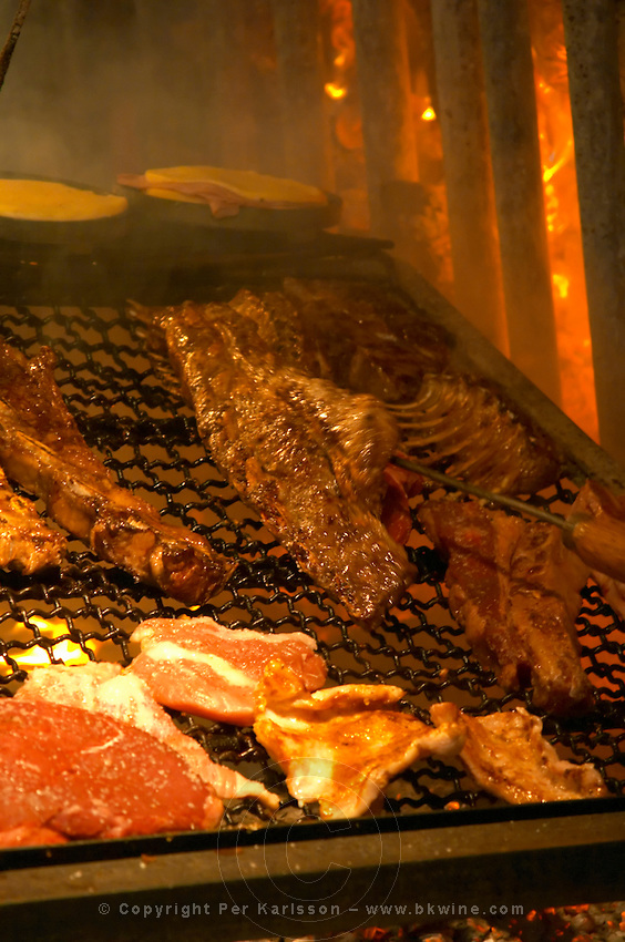 The gigantic huge charcoal grill with pieces of meat being cooked, in the restaurant El Palenque, the sword fish swordfish, in the Mercado del Puerto, the market in the port harbour harbor where many people go and eat and shop on weekends Montevideo, Uruguay, South America