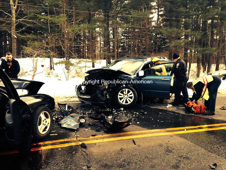 TORRINGTON, CT, 30 JAN 15 - Route 202 was closed for several hours Friday afternoon after two cars collided head-on on Route 202 near White Memorial. Brigitte Ruthman/ Republican-American