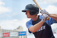 Trenton Thunder center fielder Jeff Hendrix (17) on deck during a game against the Hartford Yard Goats on August 26, 2018 at Dunkin' Donuts Park in Hartford, Connecticut.  Trenton defeated Hartford 8-3.  (Mike Janes/Four Seam Images)
