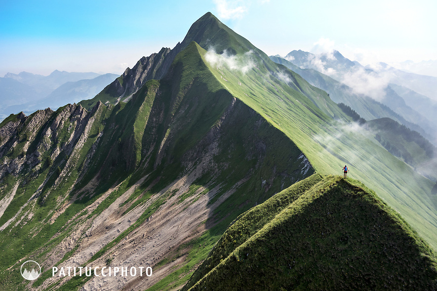 The Hardergrat is a 24 kilometer long ridgeline from Interlaken, to Brienz, Switzerland. The trail literally stays right on the edge of the ridge, sometimes knife edge in places with the sides dropping away for over 1000 meters. It is considered a classic trail to do in a day.