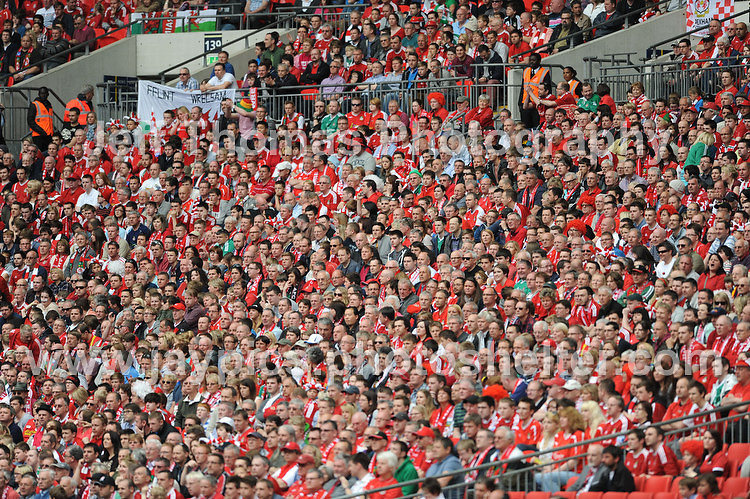 The Wrexham supporters section of the stadium during the Newport County v Wrexham Blue Sq. Bet Premier league playoff final at Wembley Stadium, London, England Sunday 5th May 2013. Credit for pictures to Jeff Thomas Photography - www.jaypics.photoshelter.com - 07837 386244 - Use of images are restricted without prior permission of the copyright owner Jeff Thomas Photography.