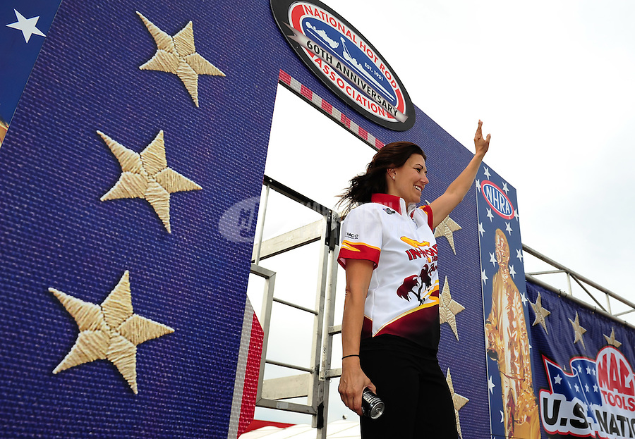 Sept. 5, 2011; Claremont, IN, USA: NHRA funny car driver Melanie Troxel during the US Nationals at Lucas Oil Raceway. Mandatory Credit: Mark J. Rebilas-