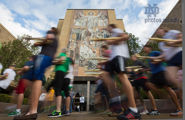 Sep 21, 2013; The Notre Dame Marching Ban marches by Hesburgh Library on the morning of the Michigan State football game. <br /> <br /> Photo by Matt Cashore