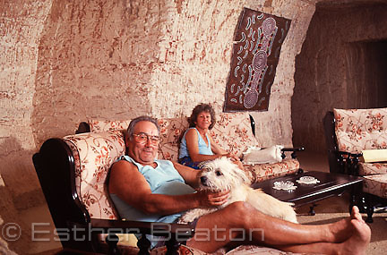 Swiss miner with wife and dog in their dugout home. Coober Pedy, South Australia