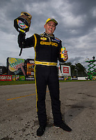 Sept. 1, 2014; Clermont, IN, USA; NHRA top fuel dragster driver Richie Crampton celebrates after winning the US Nationals at Lucas Oil Raceway. Mandatory Credit: Mark J. Rebilas-USA TODAY Sports