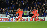 Cardiff City's Junior Hoilett scores his side's second goal <br /> <br /> Photographer Ian Cook/CameraSport<br /> <br /> The EFL Sky Bet Championship - Cardiff City v Huddersfield Town - Wednesday August 21st 2019 - Cardiff City Stadium - Cardiff<br /> <br /> World Copyright © 2019 CameraSport. All rights reserved. 43 Linden Ave. Countesthorpe. Leicester. England. LE8 5PG - Tel: +44 (0) 116 277 4147 - admin@camerasport.com - www.camerasport.com