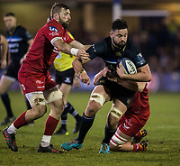 Bath Rugby's Elliott Stooke in action during todays match<br /> <br /> Photographer Bob Bradford/CameraSport<br /> <br /> European Champions Cup Round 5 - Bath Rugby v Scarlets - Friday 12th January 2018 - The Recreation Ground - Bath<br /> <br /> World Copyright &copy; 2018 CameraSport. All rights reserved. 43 Linden Ave. Countesthorpe. Leicester. England. LE8 5PG - Tel: +44 (0) 116 277 4147 - admin@camerasport.com - www.camerasport.com