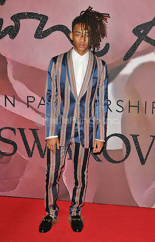 Jaden Smith at the Fashion Awards 2016, Royal Albert Hall, Kensington Gore, London, England, UK, on Monday 05 December 2016. <br /> CAP/CAN<br /> ©CAN/Capital Pictures /MediaPunch ***NORTH AND SOUTH AMERICAS ONLY***