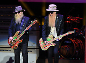WEST PALM BEACH, FL - OCTOBER 20: Dusty Hill and Billy Gibbons of ZZ Top perform during the 50th Anniversary Tour at The Coral Sky Amphitheatre on October 20, 2019 in West Palm Beach Florida. Credit Larry Marano © 2019