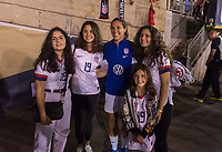 PASADENA, CA - AUGUST 4: Carli Lloyd #10 poses with the family of Gianni Infantino during a game between Ireland and USWNT at Rose Bowl on August 3, 2019 in Pasadena, California.