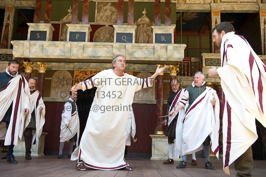 Julius Caesar by William Shakespeare. A Shakespeare's Globe Production directed by Dominic Dromgoogle. With George Irving as Julius Caesar, Tom McKay as Brutus. Opens at Shakespeare's Globe Theatre on 2/7/14  pic Geraint Lewis