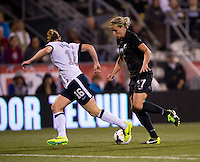 Hannah Wilkinson (17) of New Zealand tries to get past Rachel Buehler (16) of the USWNT during an international friendly at Crew Stadium in Columbus, OH. The USWNT tiedNew Zealand, 1-1.