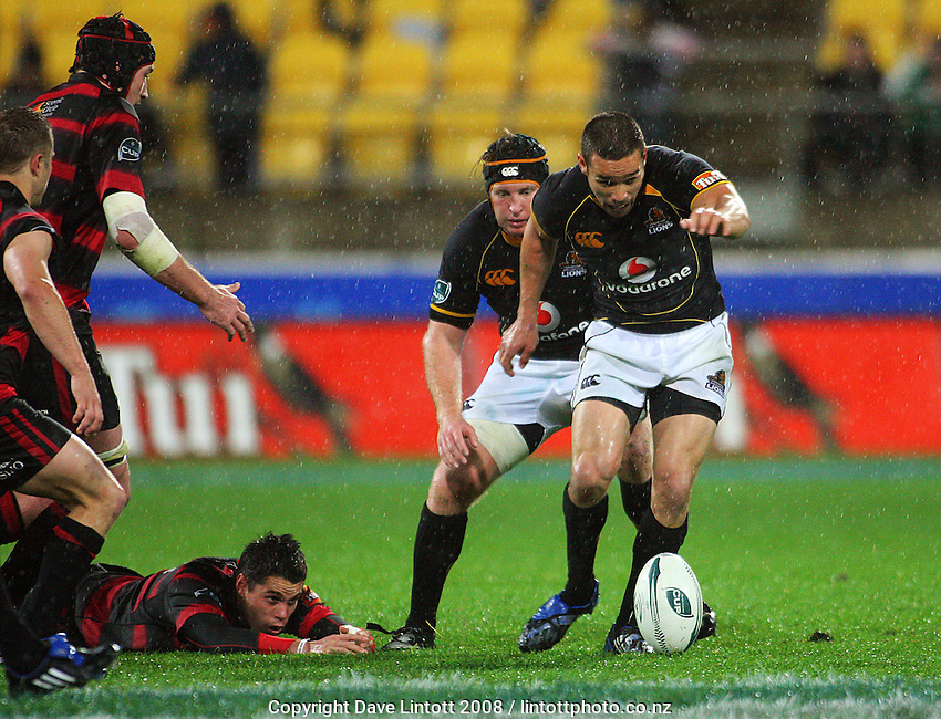 Thomas Waldrom watches as Tamati Ellison kicks at loose ball during the Air NZ Cup Final between Wellington and Canterbury at Westpac Stadium, Wellington, New Zealand on Saturday 25th October 2008.  Photo: Dave Lintott / lintottphoto.co.nz