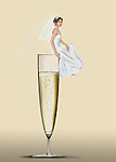 Illustrative image of bride sitting on champagne flute representing wedding celebration