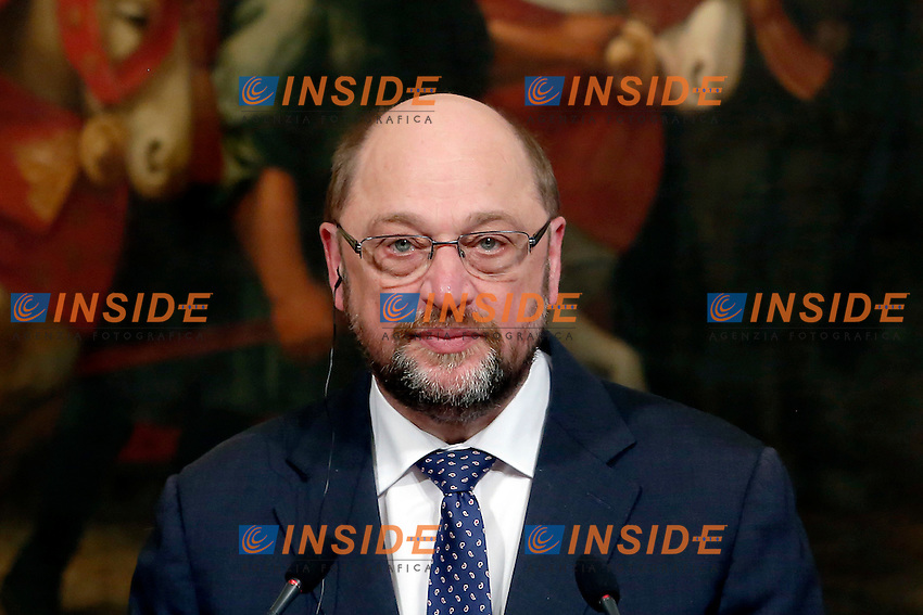 Martin Schulz<br /> Roma 12-02-2016 Palazzo Chigi, il Premier italiano incontra il Presidente del Parlamento Europeo.<br /> Rome 12th February 2016. The Italian Premier meets the President of the European Parliament.<br /> Photo Samantha Zucchi Insidefoto