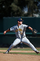 Ryan Wertenberger #34 of the California Golden Bears pitches against the UCLA Bruins at Jackie Robinson Stadium on March 23, 2013 in Los Angeles, California. (Larry Goren/Four Seam Images)