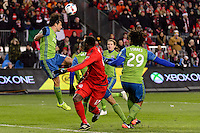 Toronto, ON, Canada - Saturday Dec. 10, 2016: Nelson Valdez during the MLS Cup finals at BMO Field. The Seattle Sounders FC defeated Toronto FC on penalty kicks after playing a scoreless game.