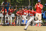 WATERBURY, CT-0712217JS12--Wolcott's Ty Devitta (3) comes in to score on a a three RBI, in the park, home run during their Roberto Clemente Tournament game against the BC Cyclones Saturday at Municipal Stadium in Waterbury. <br /> Jim Shannon Republican-American