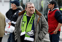 A Swansea fan during the Barclays Premier League match between Stoke City and Swansea City played at Britannia Stadium, Stoke on April 2nd 2016