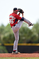 Boston Red Sox minor league pitcher Javier Rodriguez (10) during an extended spring training game against the Tampa Bay Rays on April 16, 2014 at Charlotte Sports Park in Port Charlotte, Florida.  (Mike Janes/Four Seam Images)