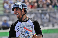 16 August, 2012:  Joshua Rodriguez jokes with other competors before the start of the Skateboard Bowl Semi-final at the Pantech Beach Championships in Ocean City, MD