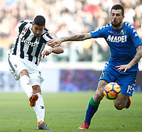 Calcio, Serie A: Juventus - Sassuolo, Torino, Allianz Stadium, 4 Febbraio 2018. <br /> Juventus' Sami Khedira (l) in action with Sassuolo's Francesco Acerbi (r) during the Italian Serie A football match between Juventus and Sassuolo at Torino's Allianz stadium, February 4, 2018.<br /> UPDATE IMAGES PRESS/Isabella Bonotto