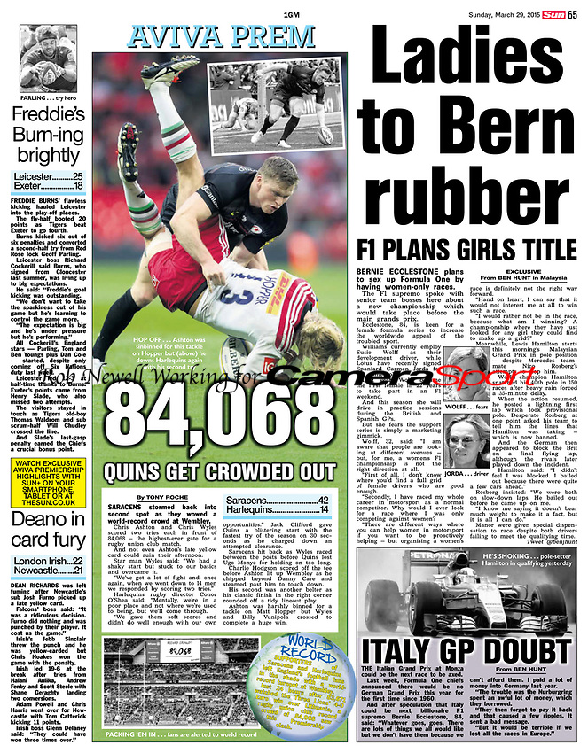 The Sun 29-Mar-2015 - 'HOP OFF...Ashton was sinbinned for this tackle on Hopper but ....' - Photo by Rob Newell (Digital South)