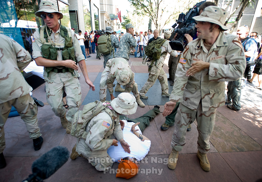 Iraq Veterans Against The War participate in a protest action named Operation First Casualty to show their dislike for the War in Iraq during the Democratic National Convention in Denver, Colorado, Tuesday, August 26, 2008. Iraq Veterans Against The War was created in July of 2004 to allow servicemen and women from the military to speak out against the war...PHOTOS/  MATT NAGER
