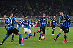 Fabian Ruiz of Napoli fires a shot goalwards during the Coppa Italia match at Giuseppe Meazza, Milan. Picture date: 12th February 2020. Picture credit should read: Jonathan Moscrop/Sportimage