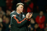Louis Van Gaal, manager of Manchester United applauds the fans during the UEFA Europa League match at Old Trafford. Photo credit should read: Philip Oldham/Sportimage