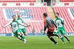 LONDON, ENGLAND - MARCH 29: North Ferriby United players celebrate victory over Wrexham in a penalty shoot out after Adam Nicklin of North Ferriby United (2nd right) saves a penalty during the FA Carlsberg Trophy between North Ferriby United and Wrexham at Wembley Stadium, London<br /> Picture by David Horn/eXtreme aperture photography +44 7545 970036<br /> 28/03/2015