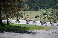 yellow jersey group descending before the final kilometers towards Alpe d'Huez<br /> <br /> stage 7: Aoste &gt; Alpe d'Huez (168km)<br /> 69th Crit&eacute;rium du Dauphin&eacute; 2017