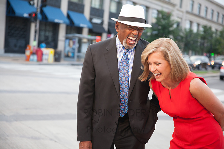 Behind-the-scenes with Jim Vance and Doreen Gentzler at a News4 promotion production.