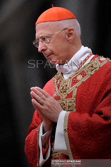 Cardinal Angelo Bagnasco President of the Italian Episcopal Conference (CEI),  celabrates mass on the occasion of its 40th anniversary of Caritas chatolich worldwide association, at St Peter's basilica at The Vatican.November 24, 2011 ..