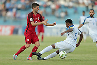 San Pedro Sula, Honduras - Tuesday September 05, 2017: Christian Pulisic, Bryan Acosta during a 2017 FIFA World Cup Qualifying (WCQ) round match between the men's national teams of the United States (USA) and Honduras (HON) at Estadio Olímpico Metropolitano.