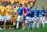 Motherwell v St Johnstone&hellip;20.10.18&hellip;   Fir Park    SPFL<br />Joe Shaughnessy leads the St Johnstone team in the pre-match handshake<br />Picture by Graeme Hart. <br />Copyright Perthshire Picture Agency<br />Tel: 01738 623350  Mobile: 07990 594431