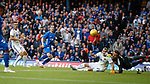 09.08.18 Rangers v Maribor: Ryan Kent's shot is palmes away by the keeper into the path of Alfredo Morelos