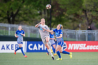 Boston, MA - Sunday May 07, 2017: Samantha Mewis and Natasha Dowie during a regular season National Women's Soccer League (NWSL) match between the Boston Breakers and the North Carolina Courage at Jordan Field.