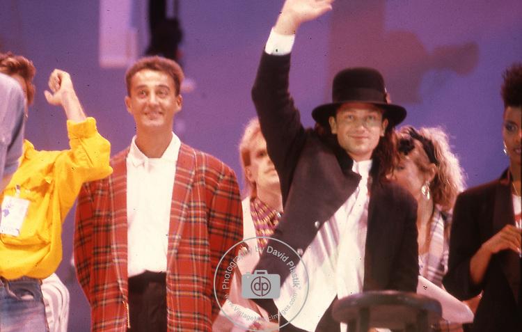 Live Aid 1985 Wembley Stadium, London , England. Bono, Andrew Ridgeley.