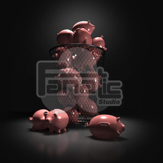 Illustrative image of piggybanks in wastepaper basket representing loss