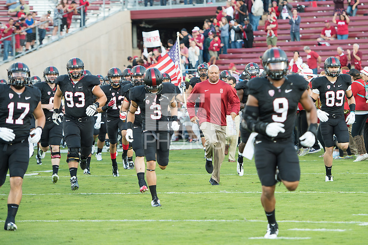 STANFORD, CA - September 13, 2014: The Stanford Cardinal vs Washington State Cougars game at Stanford Stadium in Stanford, CA. Final score, Stanford Cardinal 34, Washington State Cougars 17