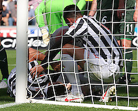 Darren McGregor gets treatment in the St Mirren v Hibernian Clydesdale Bank Scottish Premier League match played at St Mirren Park, Paisley on 18.8.12.