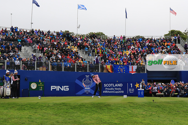Anne Van Dam of Team Europe enticing the crowd to cheer on the 1st tee during Day 2 Fourball at the Solheim Cup 2019, Gleneagles Golf CLub, Auchterarder, Perthshire, Scotland. 14/09/2019.<br /> Picture Thos Caffrey / Golffile.ie<br /> <br /> All photo usage must carry mandatory copyright credit (© Golffile   Thos Caffrey)