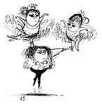 (A small boy ballet dancer balances a little girl on each hand)