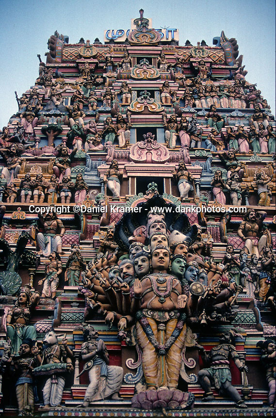 Detail of the Sri Kailawasanathan Swami Devasthanam Kovil Hindu Temple in Colombo, Sri Lanka. This is the oldest and largest Hindu temple in Colombo and is dedicated to the Gods Shiva and Ganesh. (1996)