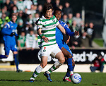 St Johnstone v Celtic..30.10.10  .Du Ri Cha holds off Jennison Myrie-Williams.Picture by Graeme Hart..Copyright Perthshire Picture Agency.Tel: 01738 623350  Mobile: 07990 594431