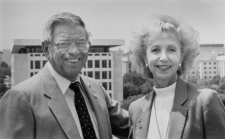 Secretary of the Interior Manuel Lujan with his wife Jean Lujan at U.S. Department of the Interior in Lujan's office on top floor terrace, on July 31, 1989. (Photo by Laura Patterson/CQ Roll Call via Getty Images)