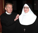 Dan Goggin and Cindy Williams and cast members performing a preview of 'Nunset Boulevard: The Nunsense Hollywood Bowl Show' at the Bowlmor Lanes Thursday, Sept. 27, 2012 in Times Square, New York.